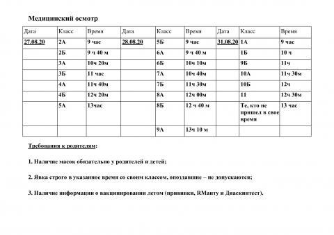 Расписание медосмотра (школа)